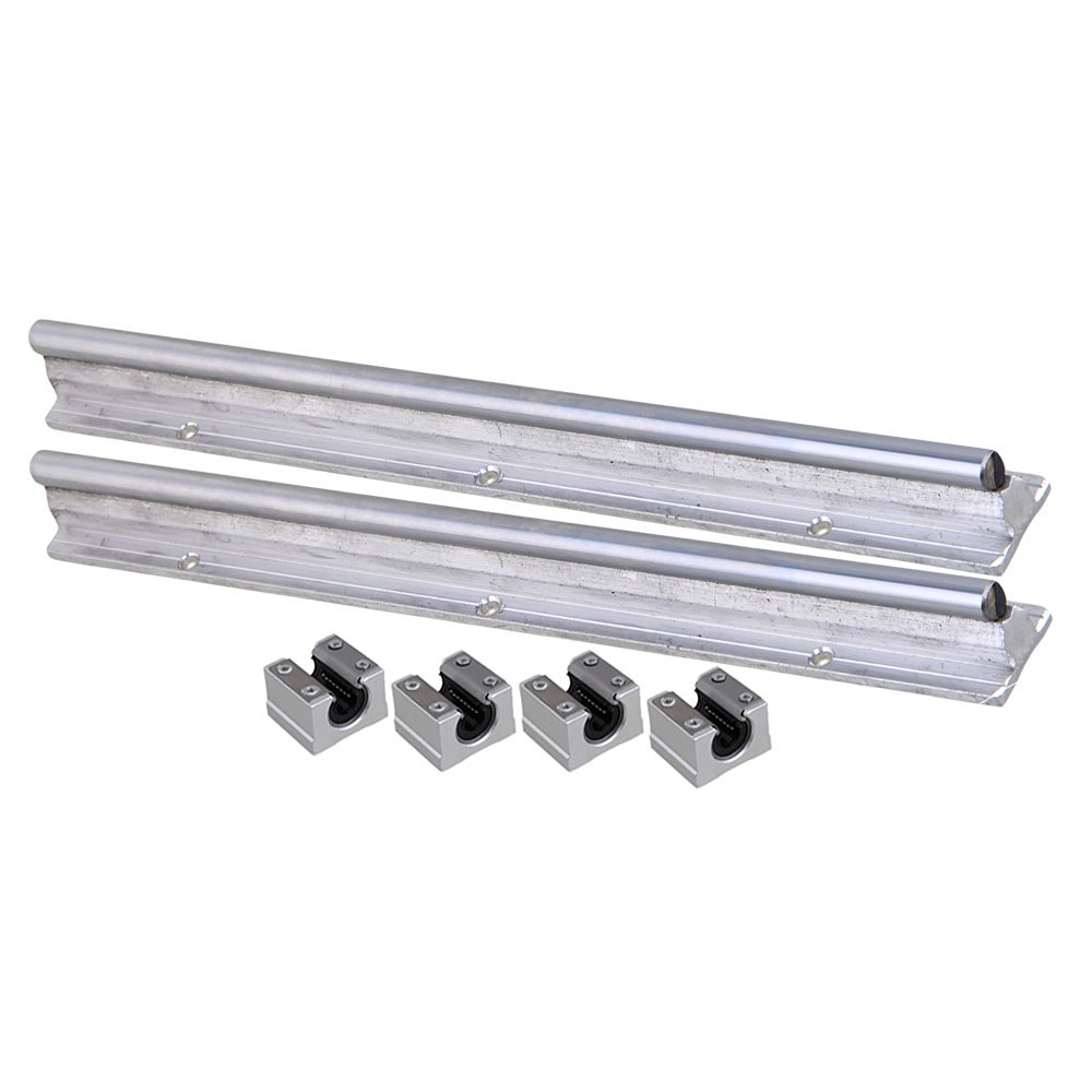 Silver Open Roller Bearing Slide Block & L300mm SBR10 Linear Bearing Rail Guide with 10mm Dia Shaft for CNC Machine Set of 6 silver open roller bearing slide block
