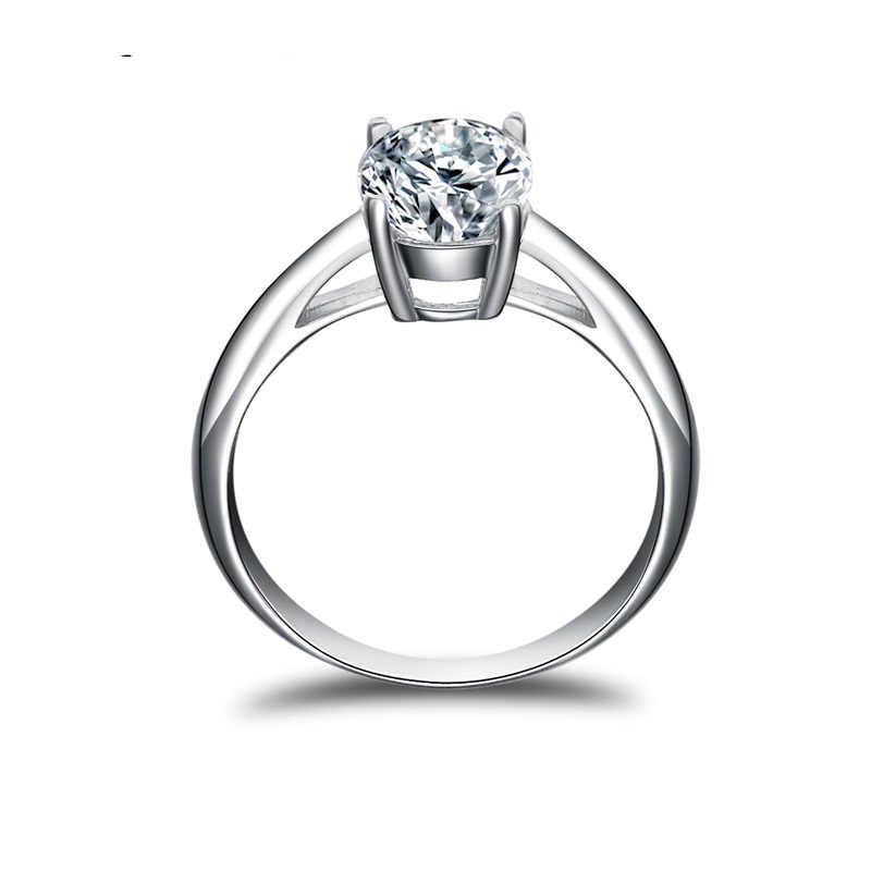 QYI 2 CT แหวนผู้หญิง 925 Silver Halo แหวนเครื่องประดับ Sona เพชรแต่งงานแหวนดอกไม้ของขวัญ