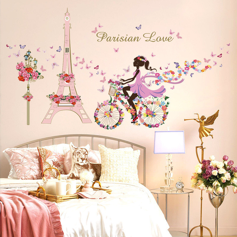 Romantic Paris Wall Sticker For Kids Rooms Eiffel Tower Flower Butterfly Fairy Girl Riding Wall