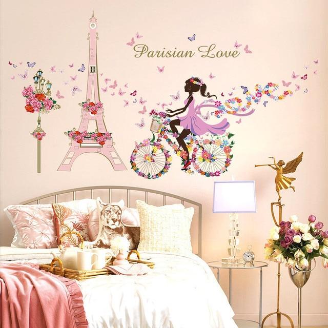 Romantic Paris Wall Sticker For Kids Rooms Eiffel Tower Flower Butterfly  Fairy Girl Riding Wall Art Part 41