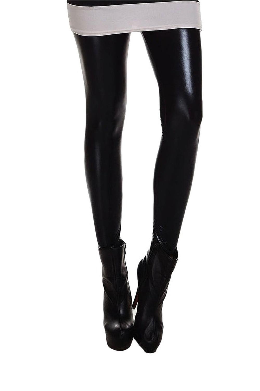 NEW STYLE Metallic Wet Look Liquid Leggings Shiny Stretch Women Pencil Pants(black)