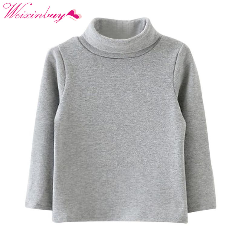 Kids Boys Girls Long-sleeved High Neck Sweater Base Warm Cotton Shirt Winter stylish cowl neck long sleeves color match batwing irregular design cotton blend sweater for women