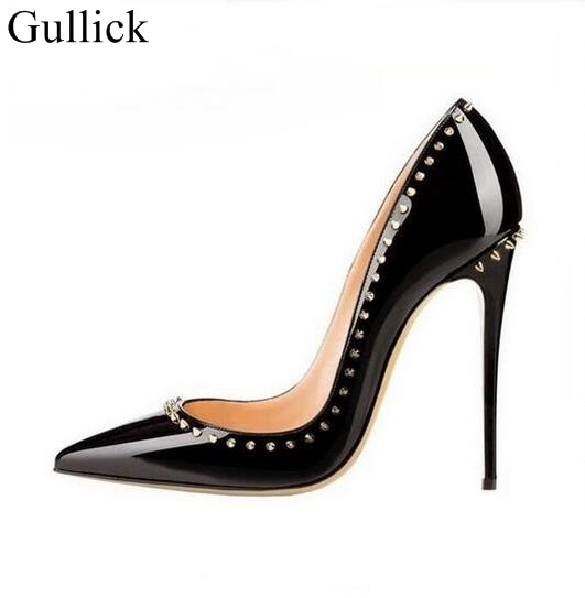 Sexy Pointed Toe Spikes High Heel Pumps Black Patent Leather Rivets Dress Shoes High Heels Women Party Shoes Slip-on Pumps women silver black rhinestone high heels with spikes sexy women pumps with spikes rivets crystal evening shoes with spikes