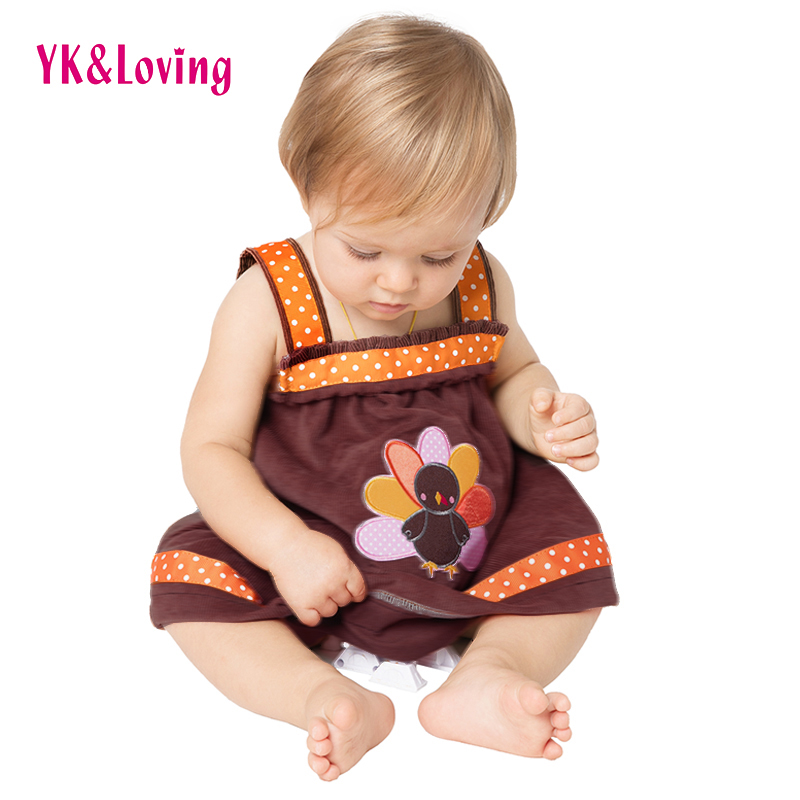 Baby Girl 6-24 Month Thanksgiving Turkey Clothing Infant Dresses Sleeveless Autumn /Winter Cotton Dress Children Clothes A