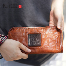 AETOO Men and women couple retro handmade cowhide leather long wallet old vintage handbag