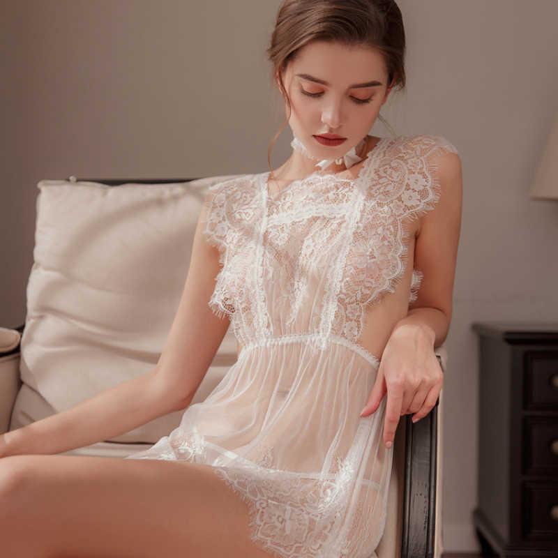 Munllure Ladies white dreamy sexy lace nightdress Underwear Women Sexy Bra Set Lingerie Bralette Sleepwear