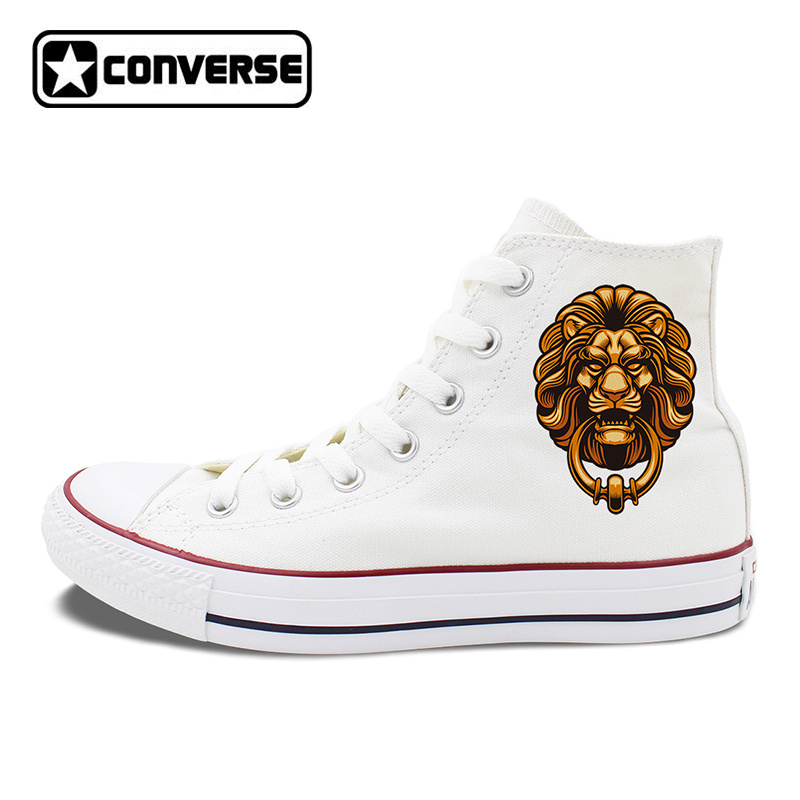 Chinese Element Lion Head Door Holder Design Converse Shoes Original Skateboarding Shoes Men Women Canvas Sneakers All Star women men converse all star canvas shoes vocaloid hatsune miku expo design hand painted sneakers skateboarding shoes gifts