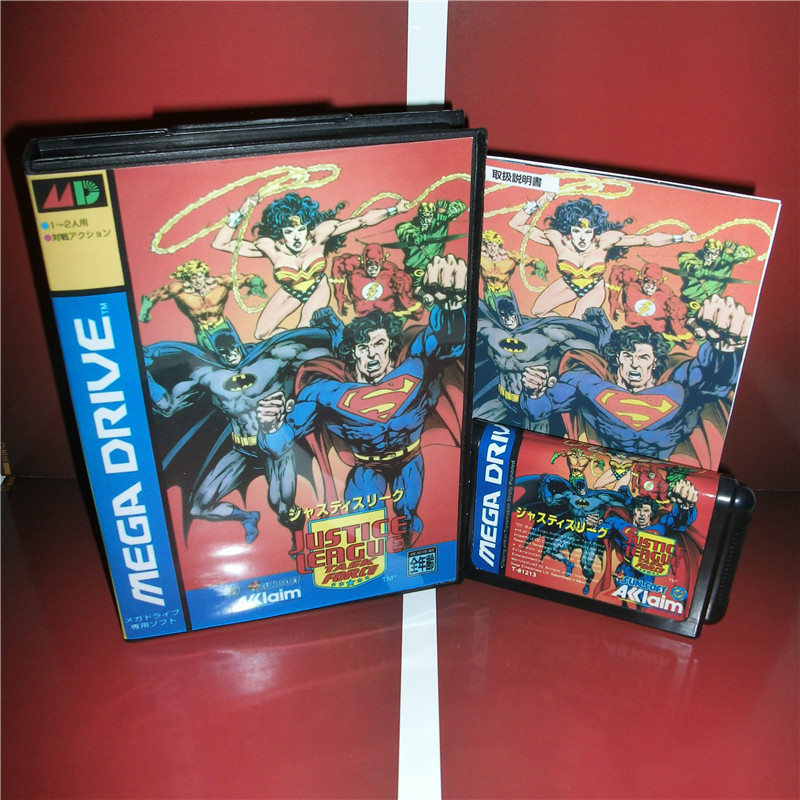 MD games card - Justice League Task Force Japan Cover with Box and Manual for MD MegaDrive Video Game Console 16 bit MD card