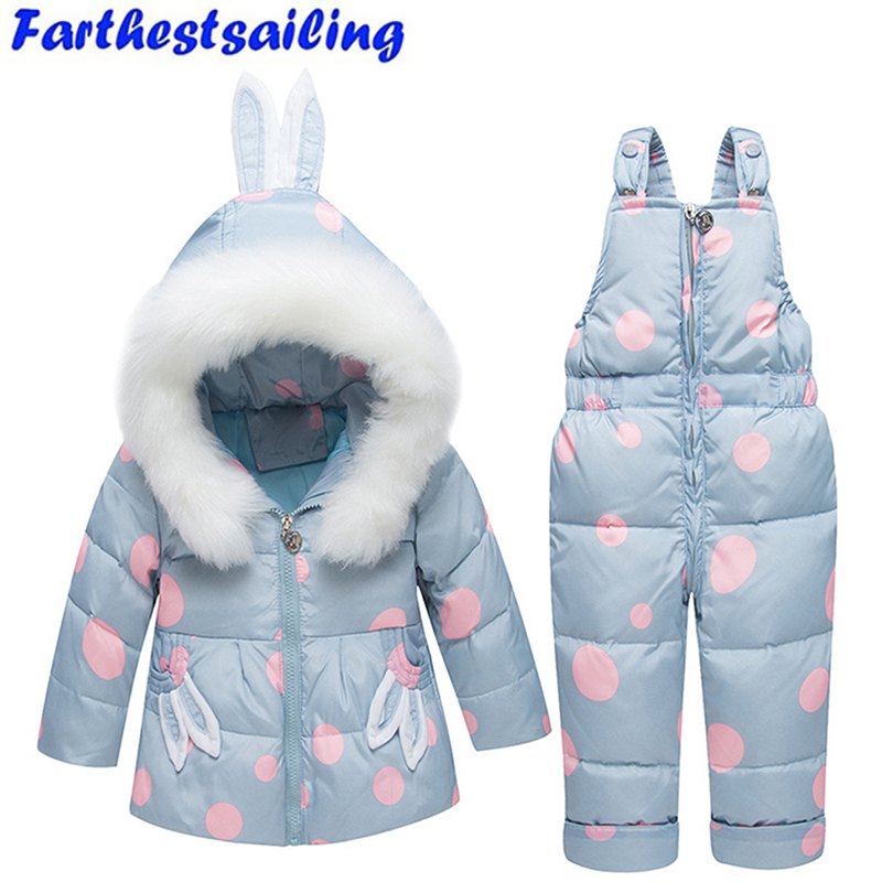 Hiver bébé vêtements ensemble enfant en bas âge doudoune hiver chaud nouveau-né infantile Snowsuit enfants Costume filles Ski Costume manteau + bavoir pantalon