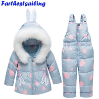 Winter Baby Clothing Set Toddler Down Jacket Winter Warm Newborn Infant Snowsuit Children Costume Girls Ski Suit Coat+Bib Pants