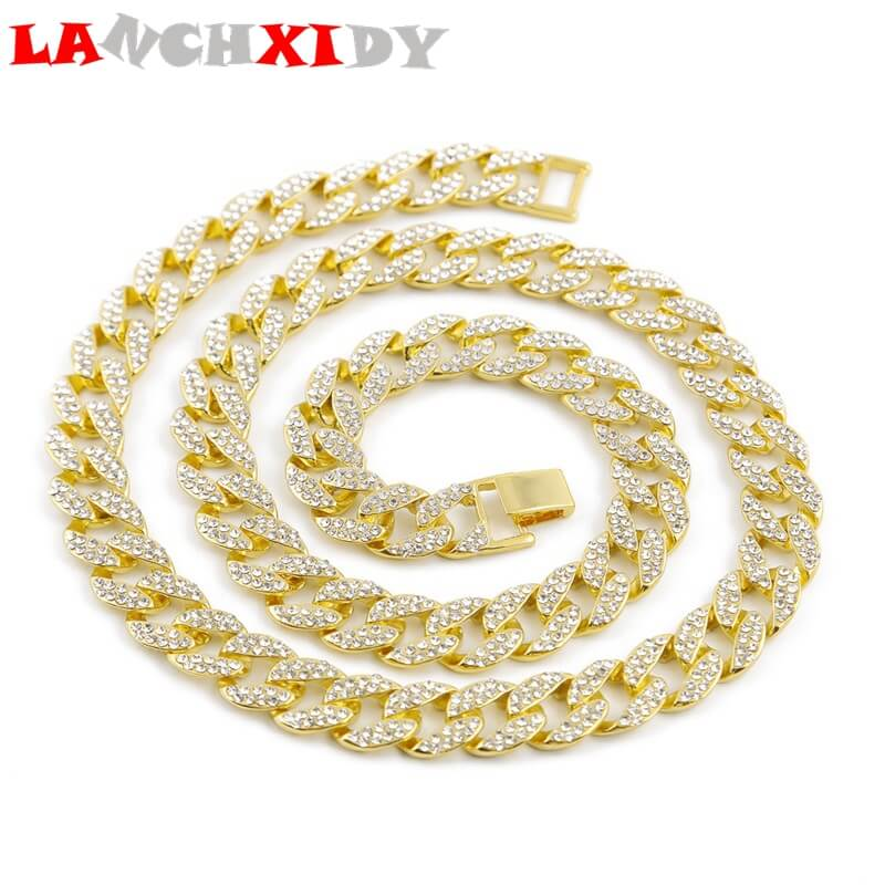 Fashion Hip Hop Men 39 s Necklace Full Of Ice Rhinestones Heavy Cuban Chain 15 mm Display Unique Identity Cool Jewelry in Chain Necklaces from Jewelry amp Accessories