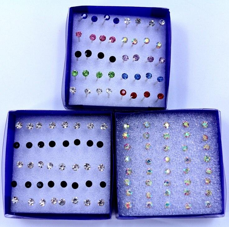 20 pairs/set Colorful Crystal Stud Earrings Set For Women Jewelry Rhinestones Piercing Earrings kit Pack lots Bijouteria brincos