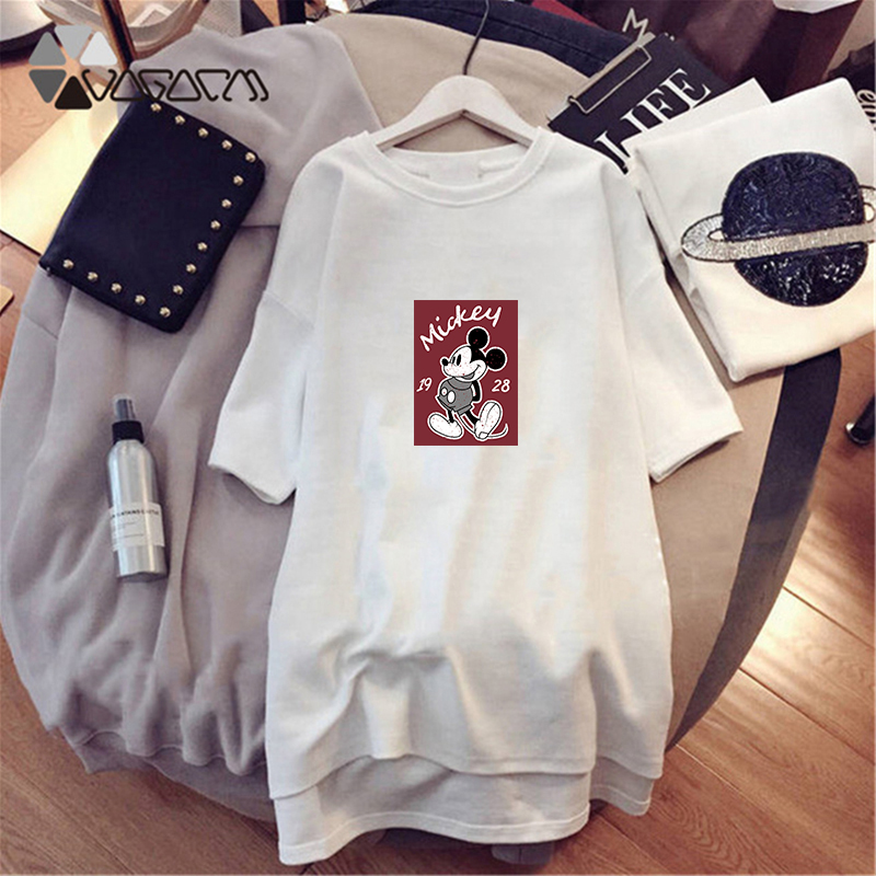 Women Short Sleeve Mickey Mouse Cartoon Print Casual Loose Streetwear Black White Mie Dresses Plus Size Summer Black Dresses in Dresses from Women 39 s Clothing