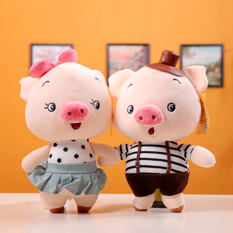 Candice guo! super cute plush toy cartoon happy bow girl handsome hat boy pig couple piggy soft doll birthday Christmas gift 1pcCandice guo! super cute plush toy cartoon happy bow girl handsome hat boy pig couple piggy soft doll birthday Christmas gift 1pc
