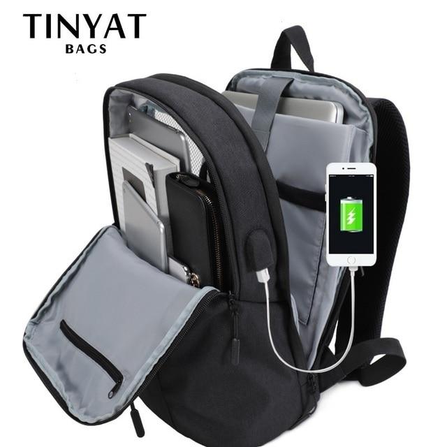 TINYAT גברים של מחשב נייד תרמיל USB עבור 15.6 אינץ נסיעות בית ספר תרמיל לteenages עמיד למים 90'c פתוח מוצ 'ילה שחור