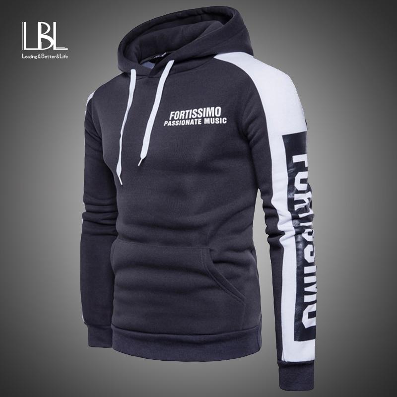 Sportswear Hoodies Men 2019 Autumn Hooded Sweatshirts Male Hip Hop Letter Print Patchwork Sleeve Sweatshirt Men Fleece Hoodies