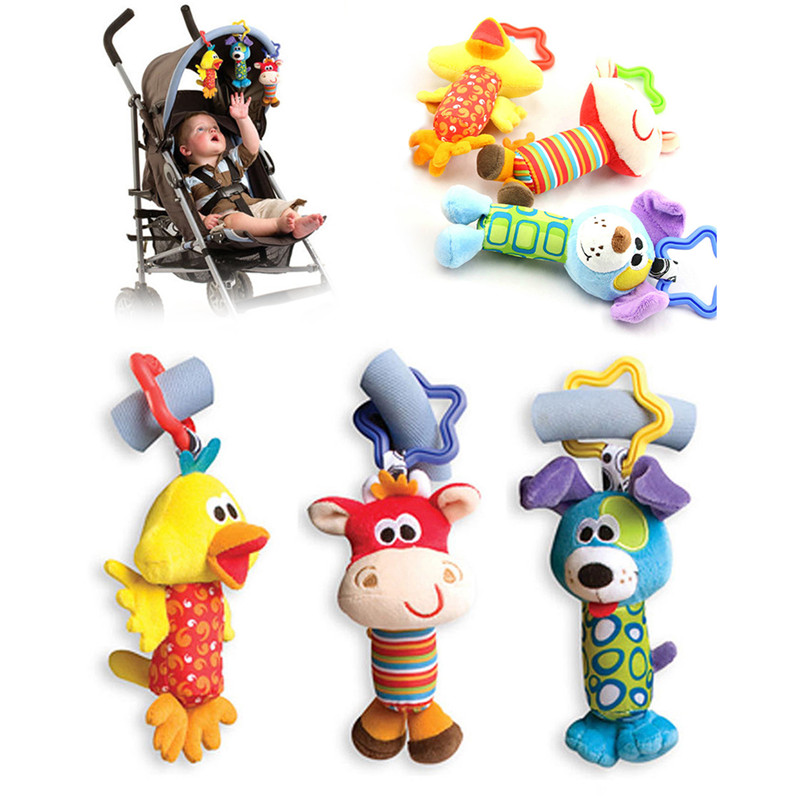 Baby Crib Stroller Rattle Plush Animals Style Hanging Rattle Ring Bell Stroller Accessories Soft Playpen Bed Pram Hanging Toy