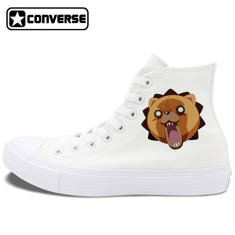 Prix pour Anime Converse Chuck Taylor II All Star Chaussures Bleach Kon Design Noir Blanc Toile Sneakers Unisexe High Top Planche À Roulettes Chaussures
