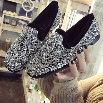 Bling Flats Sequins Crystal Studded Slip On Lazy Loafer Flat