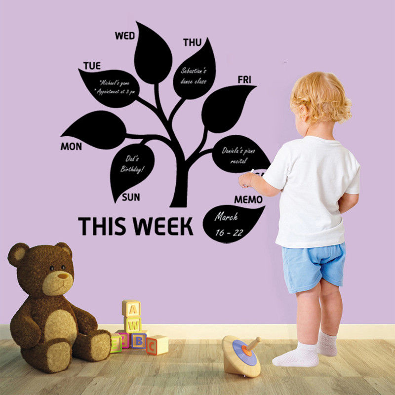 Vinyl Art Removable Wall Sticker This Week Tree Leaf Memo Planner Home Decoration Blackboard Chalkboard Poster Mural W157 in Wall Stickers from Home Garden