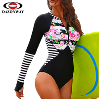 2019 New One piece Surf Swimsuit Female Long Sleeve Jellyfish Snorkeling Suit Printed Triangle Swimming Suit Black Red Surf Suit