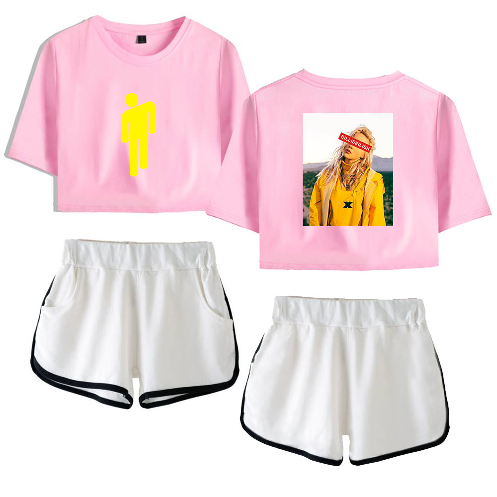 Billie Eilish Shorts T Shirt Set Gymnastik Fitness Sommer Fashion Damen Madchen Ebay