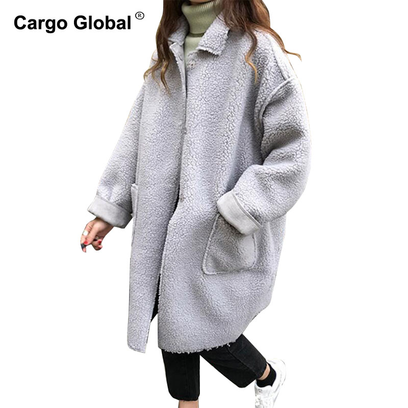 1 Veste D'hiver Et Des Mode Chaud Femmes Couleur Longue 2 D'agneau Revers Fourrure Gris Manteau Nouvelle En Automne Peluche 2018 Femme BAnwqTHA