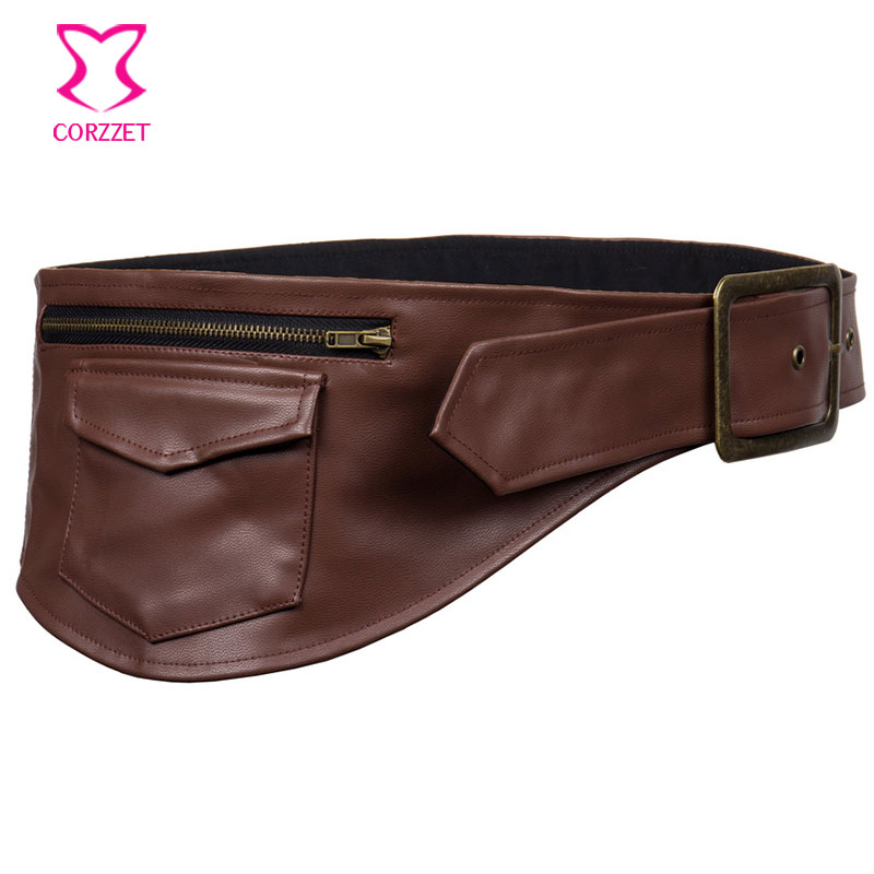 Brown Leather Waist Pouch Pocket Belt Steampunk Belt Bag -  Corsets   And   Bustiers   Sexy Burlesque Costumes Gothic   Corset   Accessories