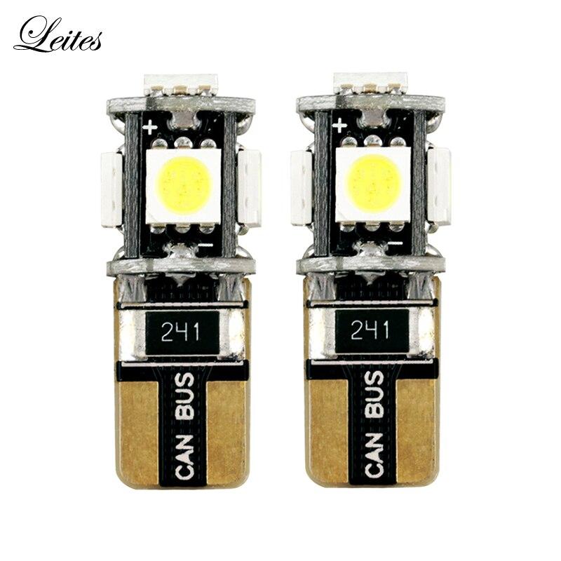 100pcs High Quality W5W T10 LED Car Side Light White 12V T10 Canbus 5SMD 5050 194