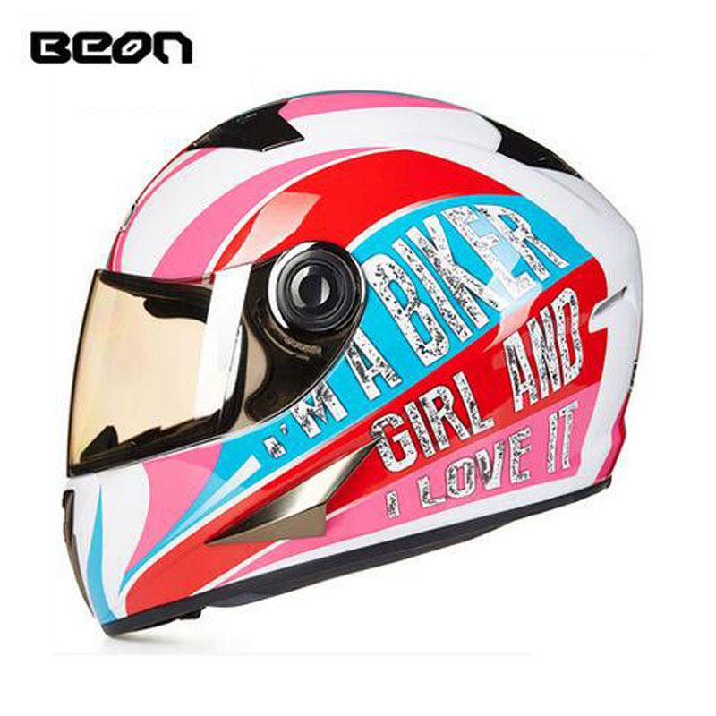 ECE white red girl BEON full face motocross Helmet for women, motorcycle MOTO electric bicycle safety headpiece ece matte black beon full face motocross helmet for women motorcycle moto electric bicycle safety headpiece