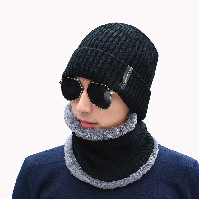 45e374ecd6e Winter Beanies Men Scarf Knitted Hat Caps Mask Gorras Bonnet Warm Baggy Winter  Hats For Men