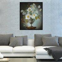 Retro White Flowers Oil Painting Wall Print Bonsai Art Canvas For Living Room Decor Fashion Gift