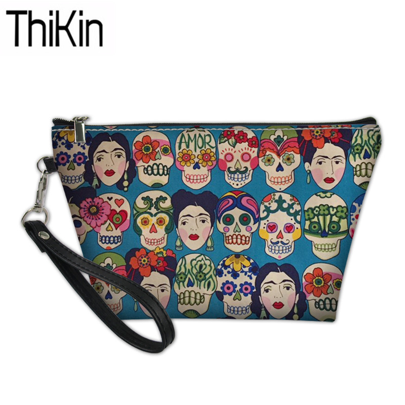 THIKIN Women Function Wash Kit Bag Sugar Skull Printing Cosmetic Cases Ladies Portable Make Up Suitcase Ladies Toiletry Bags