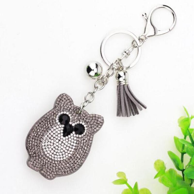 2018 New Car Full Crystal Rhinestone Owl Key Chain Golden Chain Keychain Bag Car Hanging Pendant Jewel KH-1026