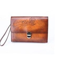 Terse_engraving service handgefertigten echtem leder handtasche mit armband haspe im blau/orange farben fabrik preis
