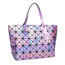 New Laser BaoBao Women Plaid Tote Bags Fashion Fold Over Handbag Shoulder Bags Bao Bao Women Luxury Bag Purses And Handbags 2017