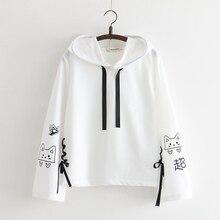 2019 Sweet Spring Hoodies Japan Style Fashion Kawaii Cats Print Bandage Bts Hood