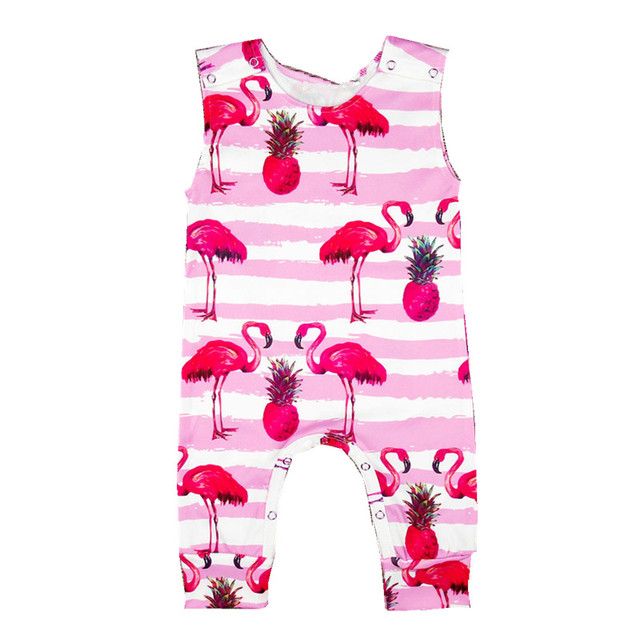 46fdb28e3c64 Pink Baby Flamingo Romper Newborn Brand Baby Sleeveless Stripe Animal  Jumpsuit Baby Birthday Party Onesie Infant Summer Clothes