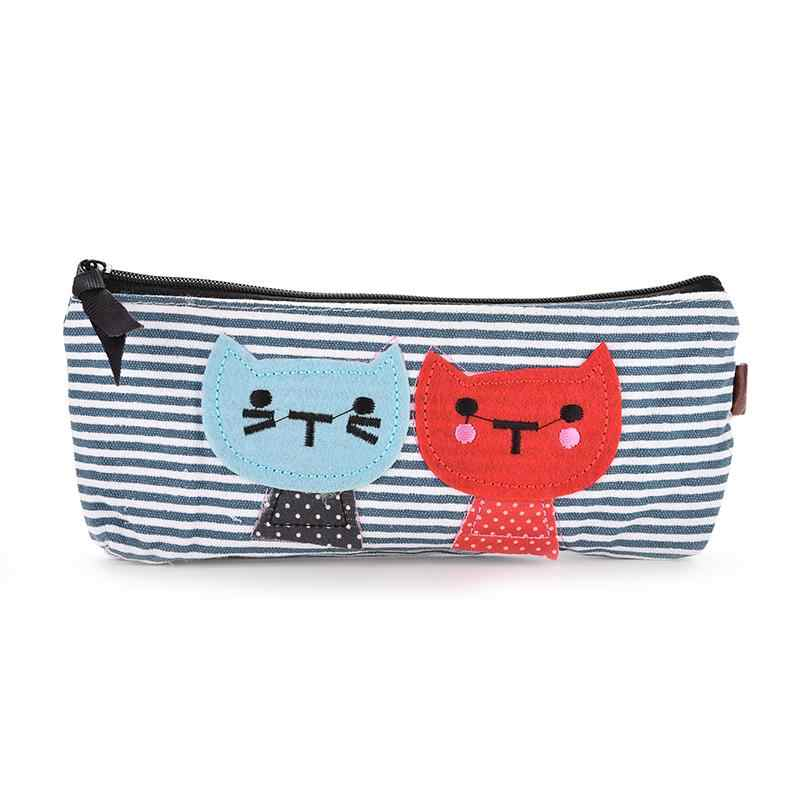 Креативный студенческий холст для девочек мультфильм синий белый полосатый пенал с изображением кота Дети Прекрасный мешок ручки