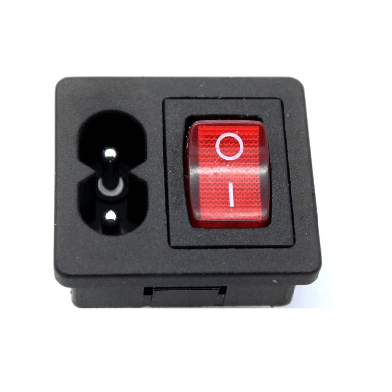5Pcs IEC320 C8 Power Cord Inlet Socket receptacle With ON OFF Red Light Rocker Switch 250V 2 5A FOR Computer Amplifier CCC CE TU in Electrical Plug from Consumer Electronics