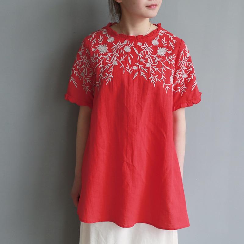 Rouge Bonne Pour Blusas Chanvre Rétro Broderie Vêtements DHW2E9I