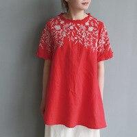 Good quality Retro embroidery hemp shirt summer short sleeve Linen blusas blouse red top for women cotton linen clothes