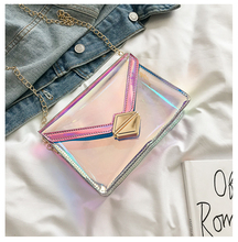 Women Shoulder Bag Flap Laser Transparent Crossbody Bags Messenger Chain Bags Beach Bag 2019 New