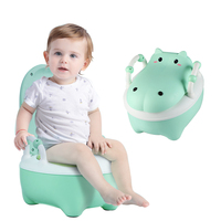 Baby Potty Toilet Training Seat Cartoon Hippo Travel Child Potty Trainer Portable Kids Baby Potty Chair Plastic Children's Pot