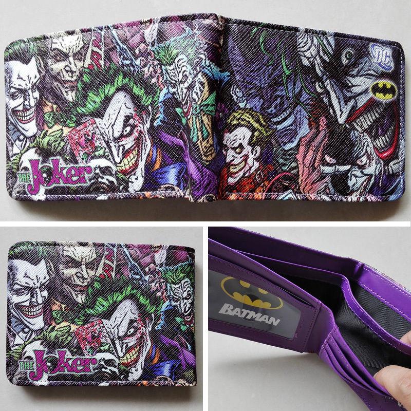 2018 DC Comics The Batman Joker character LOGO wallets Purse Purple 12cm Leather W132
