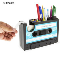 Creative Retro cassette tape pen stand Desktop pen case Storage Box Tape Block tool storage holder pen rack