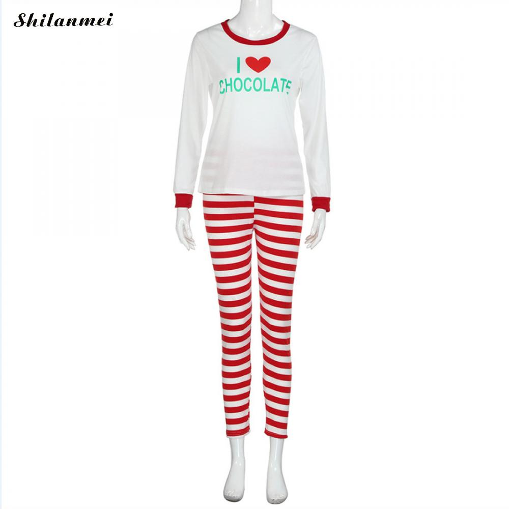 f41c82330749 Autumn Winter Women Pajamas Set 2018 Women white letter print Pajamas red  striped Pant Sleepwear Warm Nightgown -in Pajama Sets from Underwear    Sleepwears ...