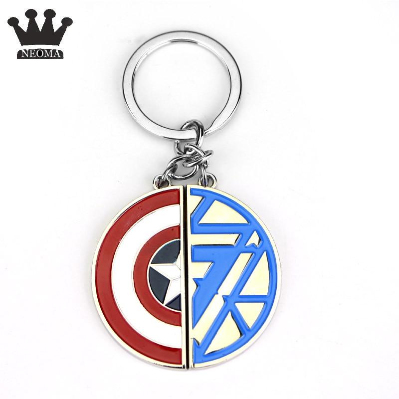 20Pcs lot Avengers Superhero Captain America Shield Keychain Car Key Holder Red and Bule Enamel Key