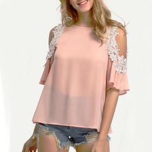 Fashion Sweet font b Women b font Short Sleeve Lace O Neck Tops Summer Chiffon Brief