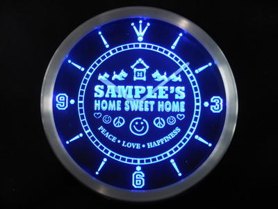 ncta-tm Name Personalized Custom Home Sweet Home Scottie Neon Sign LED Clock Wholesale Dropshipping